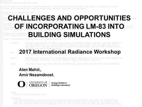 00_2017 Radiance Workshop_Presentation_Nezamdoost_Mahic